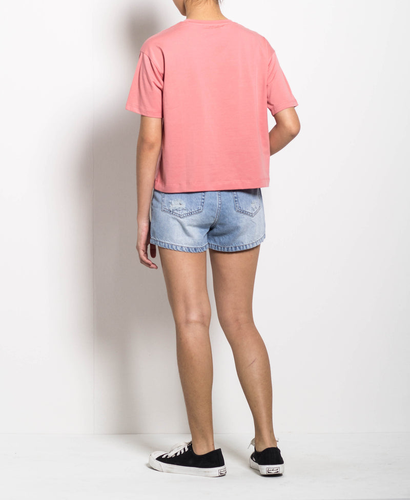 Women Short Sleeve Loose Cut Graphic Tee - Pink - H0W779