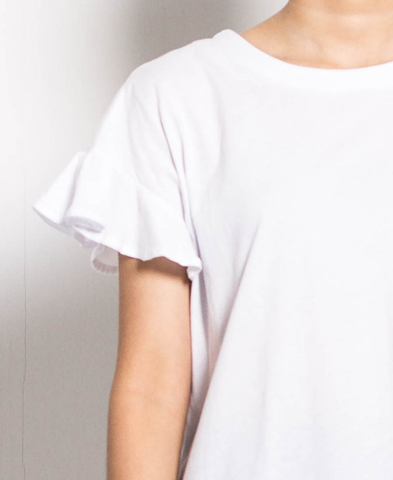 Women Ruffled Short Sleeve Tee - White