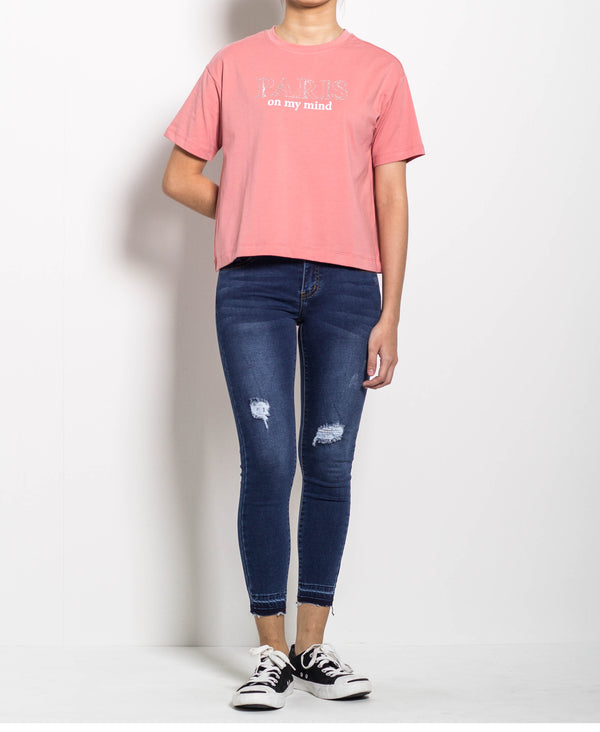 Women Short Sleeve Tee With Rhinestone - Pink