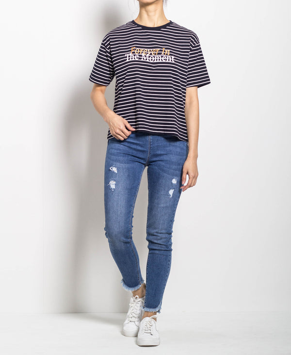 Women Short Sleeve Stripe Tee - Navy