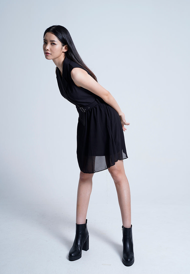 Women Shirt Dress -  Black - F9W125