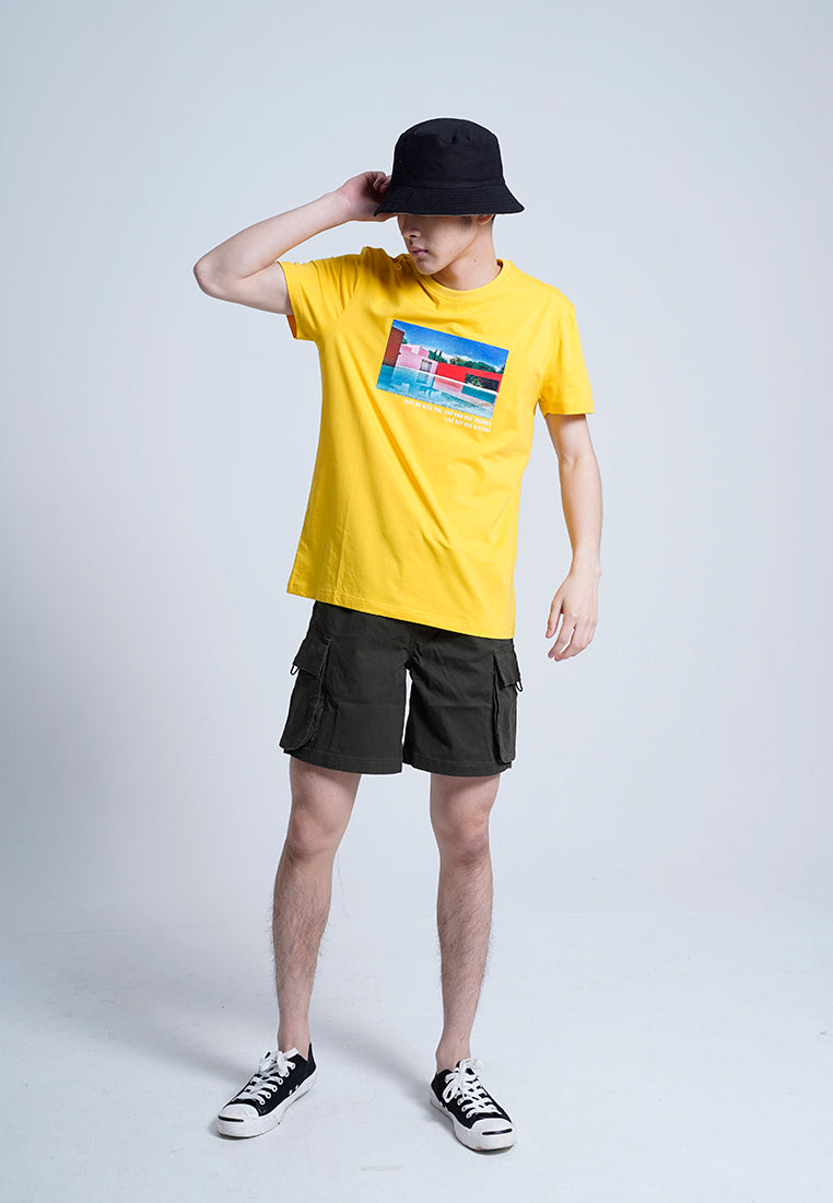 Men Short-Sleeve Graphic Tee - Yellow -H0M938