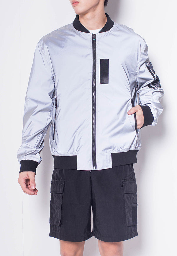 Men Reflective Bomber Jacket - Grey - H0M698