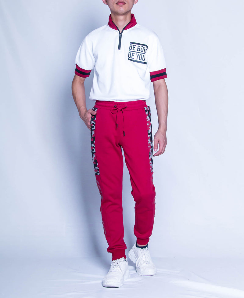 Men Knit Long Jogger - Red