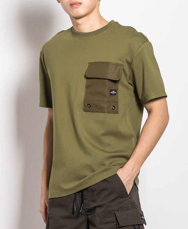Men Oversized Fashion Tee With Pocket - Army Green