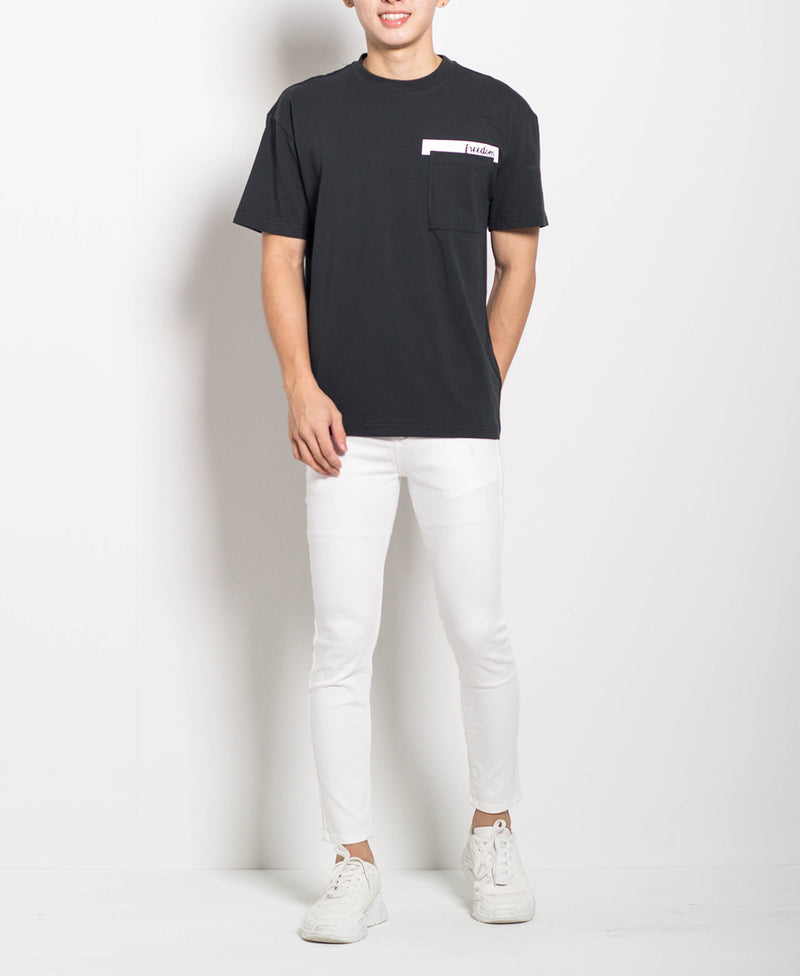 Men Oversized Fashion Tee With Pocket - Black