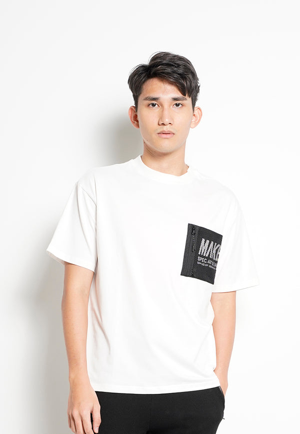 Men Oversized Short-Sleeve Fashion Round Tee - White