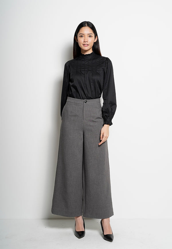 Women Wide Leg Long Pant - Dark Grey