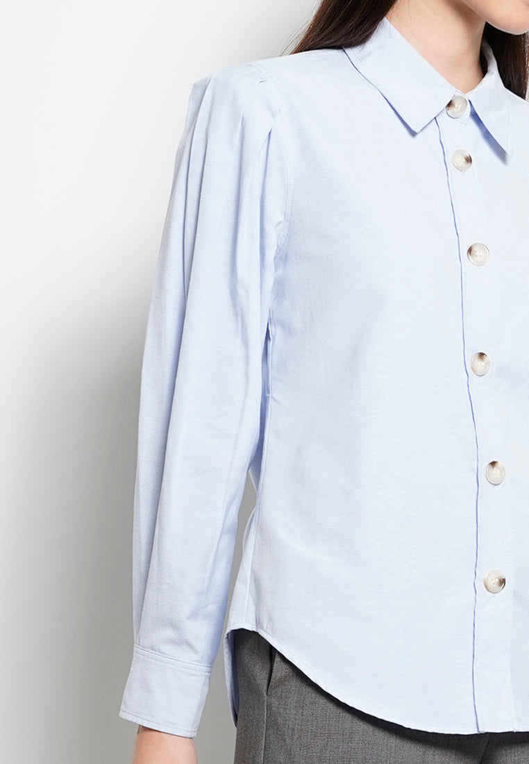 Women Pleated Long Sleeve Shirt - Blue