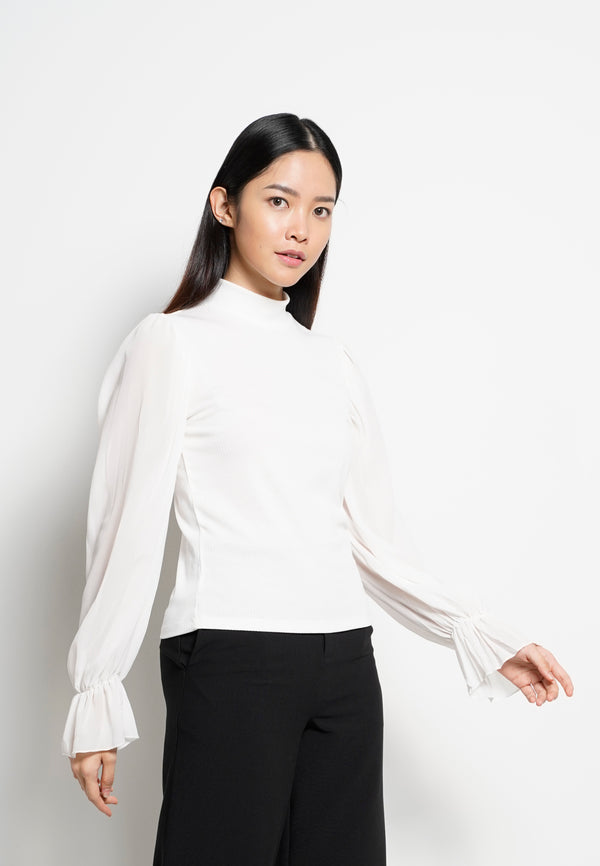 Women High Neck Long Sleeve Blouse - White