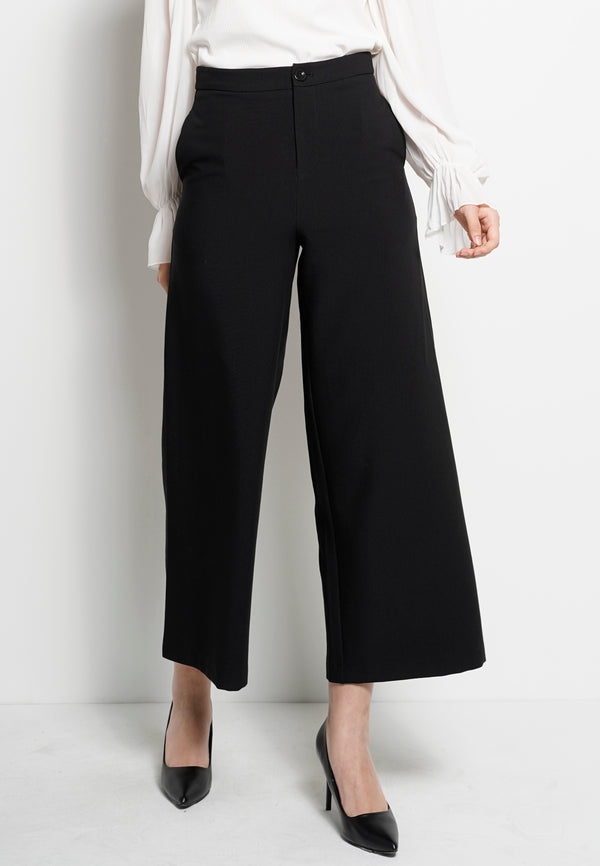 Women Wide Leg Long Pant - Black