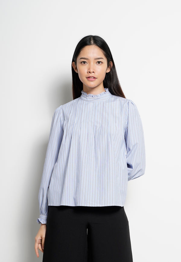 Women Striped Frill Neck Long Sleeve Blouse - Blue - H0W745