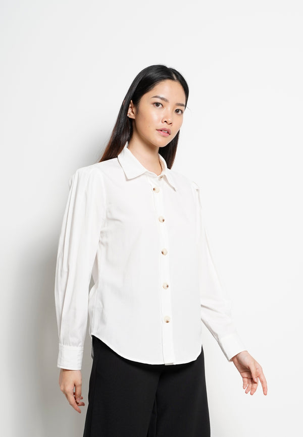 Women Pleated Long Sleeve Shirt - White