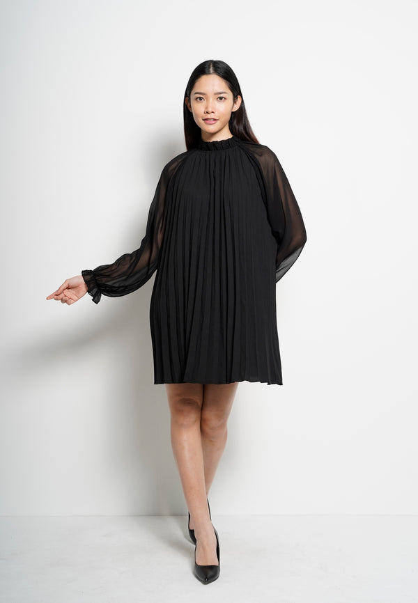 Women Long Sleeve Pleated Dress - Black