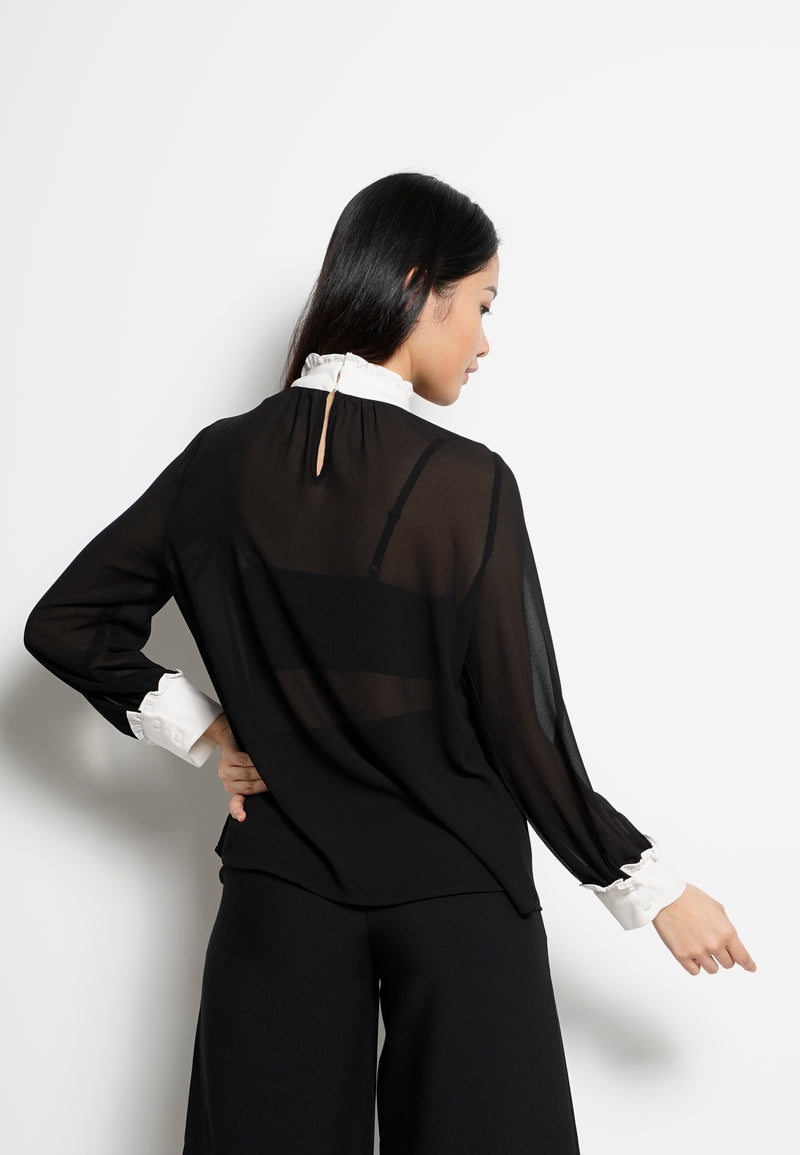 Women Frills Neck Long Sleeve Blouse - Black - H0W751