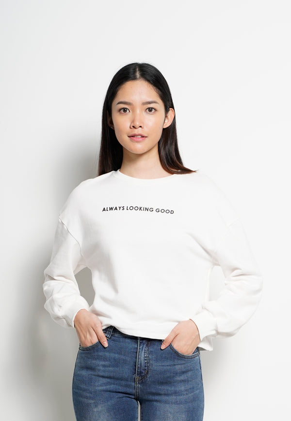 Women Round Neck Long Sleeve Sweatshirt  - White