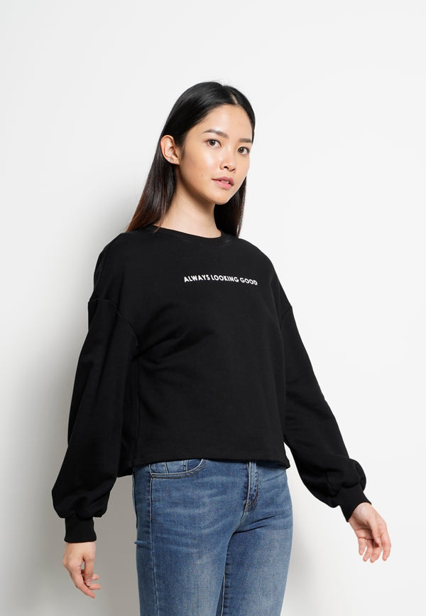 Women Round Neck Long Sleeve Sweatshirt  - Black