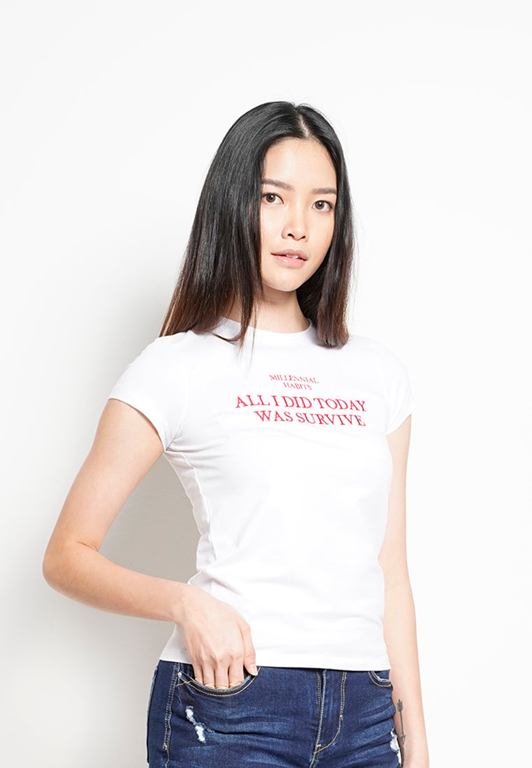 Women Short Sleeve Graphic Tee - white-H0W907