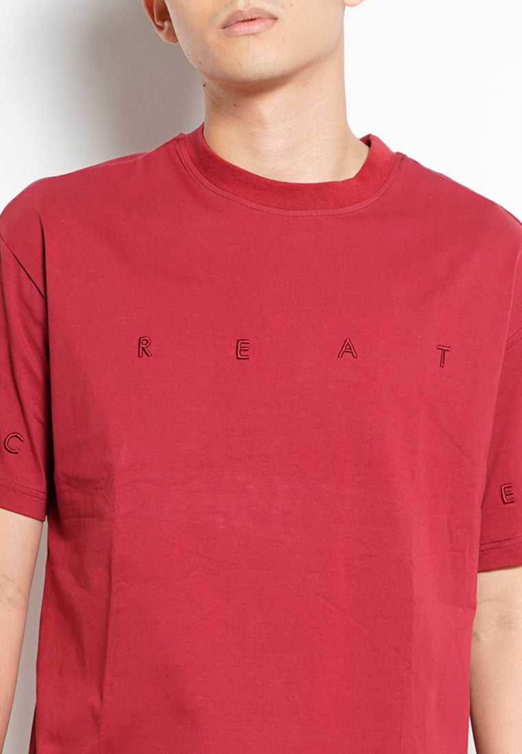 Men Oversized Short-Sleeve Fashion Tee - Dark Red