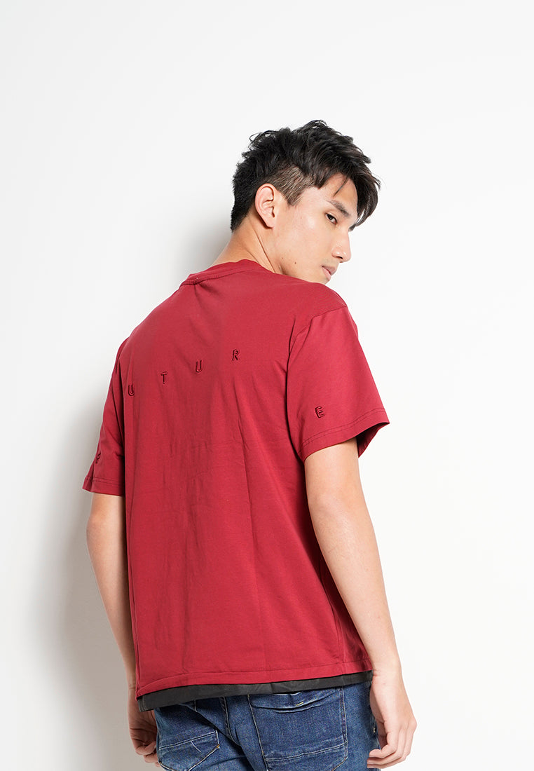 Men Oversized Short-Sleeve Fashion Tee - Dark Red - H0M736