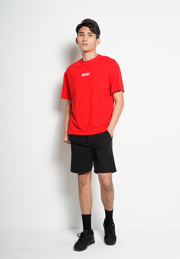 Men Oversized Short-Sleeve Fashion Round Tee - Red