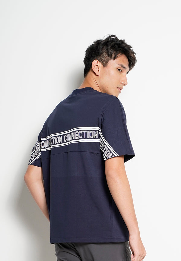 Men Oversized Short-Sleeve Embroidery Fashion Tee - Navy
