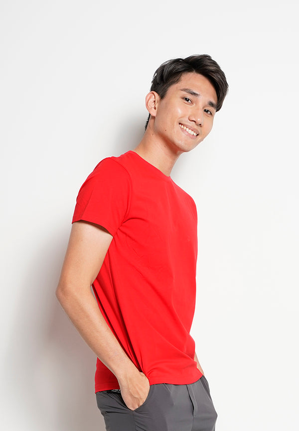 Men Short-Sleeve Basic Round Tee - Red