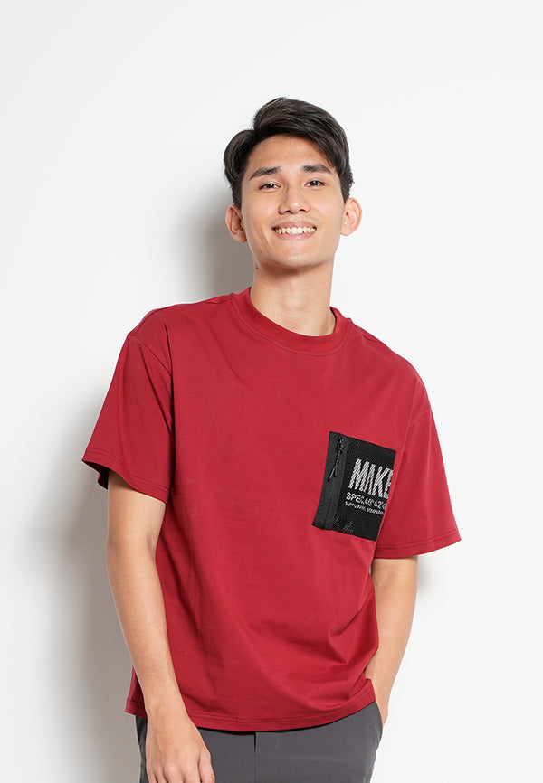Men Oversized Short-Sleeve Fashion Round Tee - Dark Red