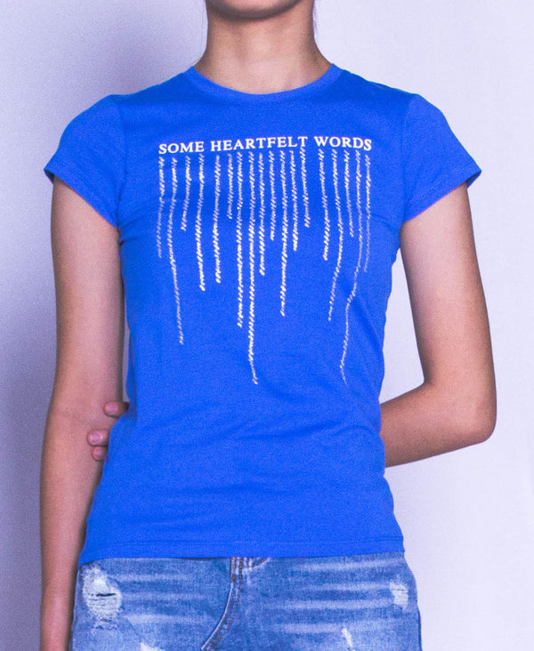 Women Short Sleeve Graphic Tee - Blue
