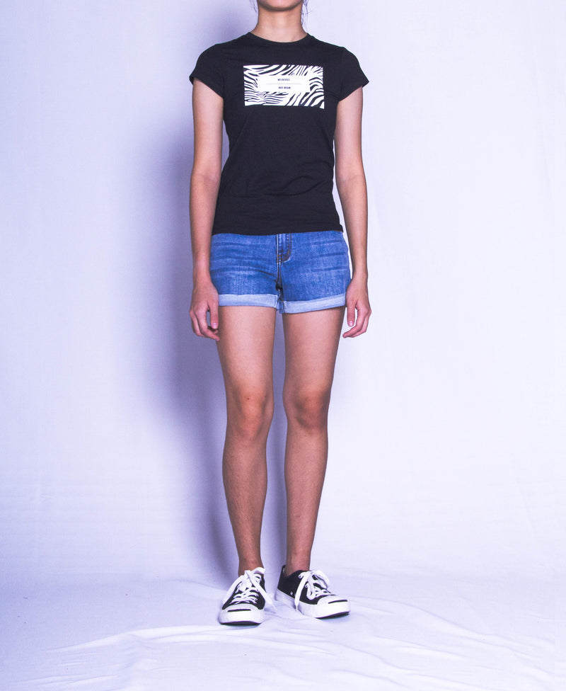 Women Short Sleeve Graphic Tee - Black