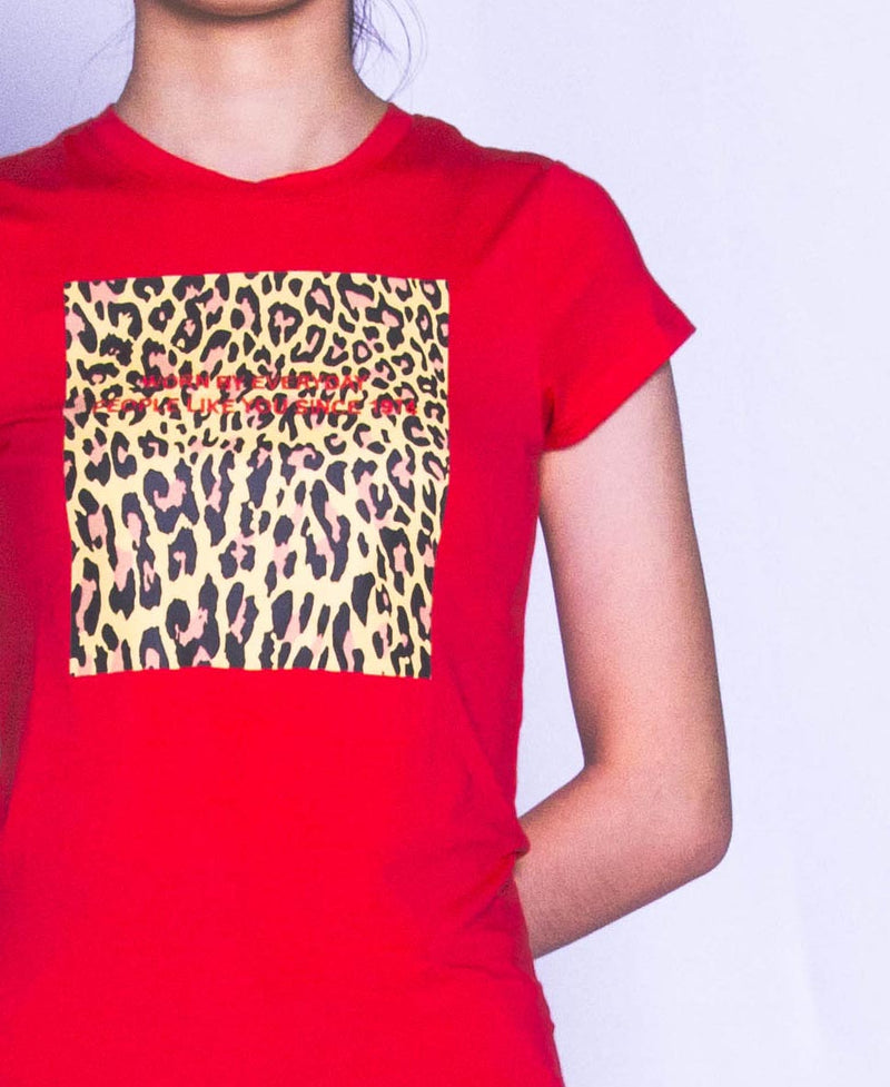 Women Short Sleeve Graphic Tee - Red