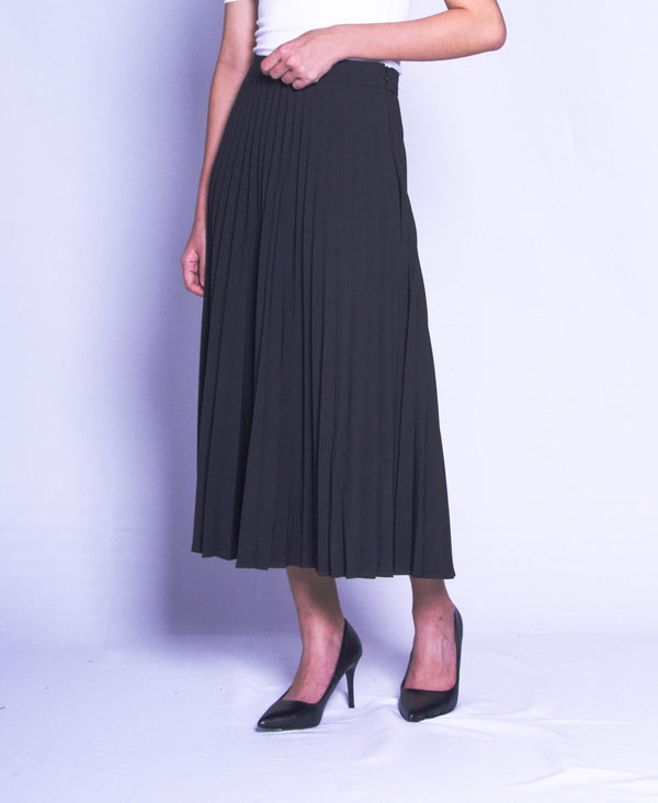 Women Pleated Skirt - Black