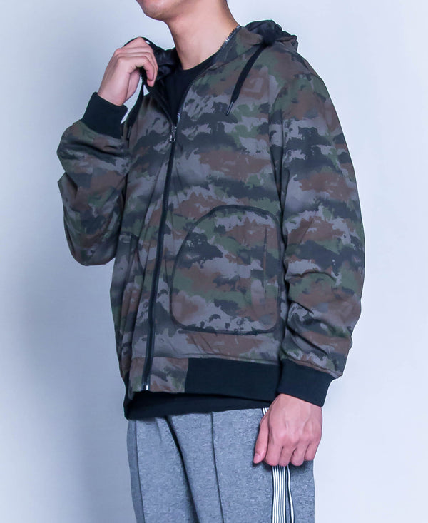 Men Reversible Hoodie Bomber Jacket - Black