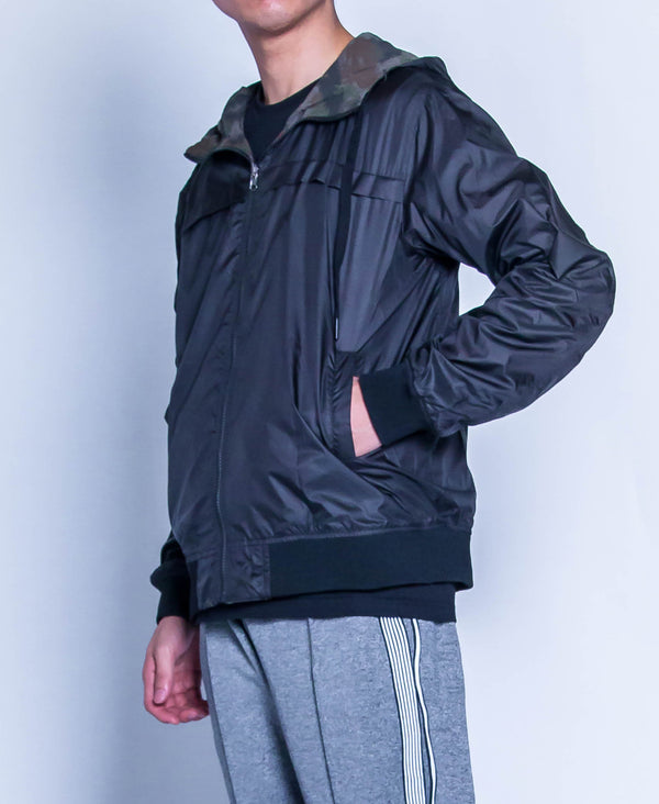 Men Reversible Hoodie Bomber Jacket - Black - H9M254