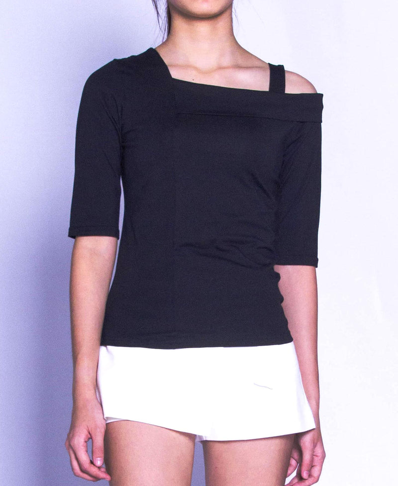 Women Short Sleeve Blouse - Black
