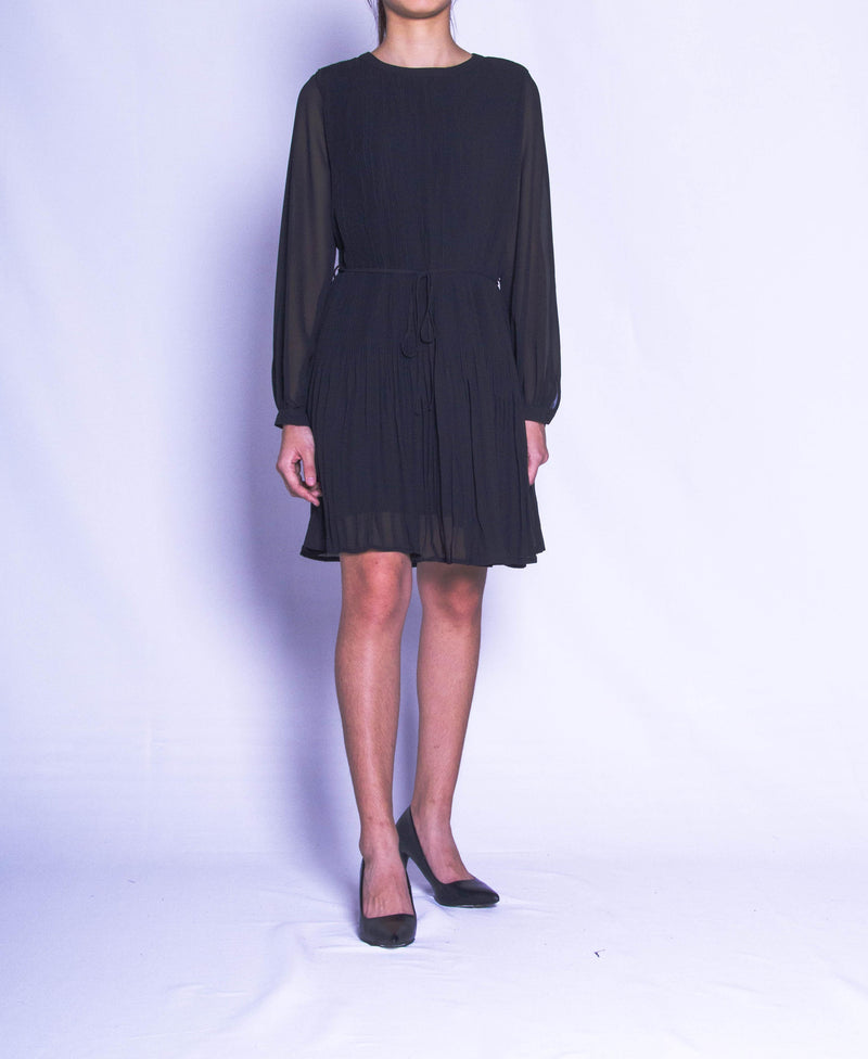 Women Pleated Dress - Black