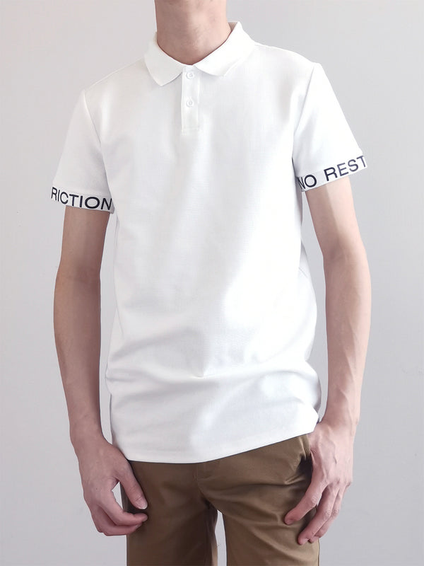 Men Fashion Polo Tee- White