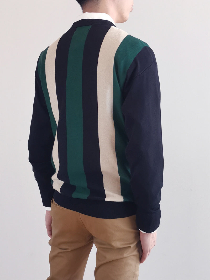 Men Striped Sweater- Black