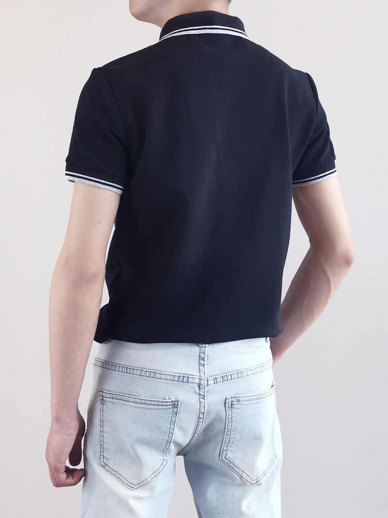 Men Basic Polo Tee - Black - M0M471