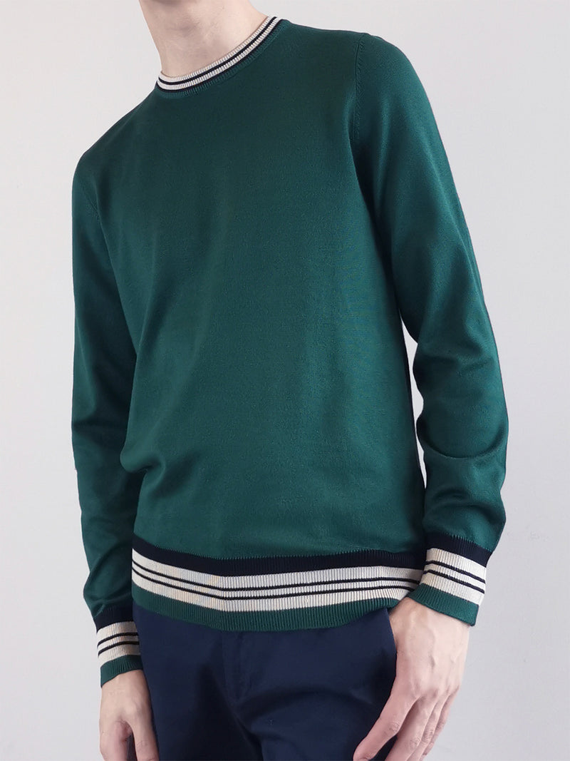 Men Sweater With Contrast Trims- Green - M0M481