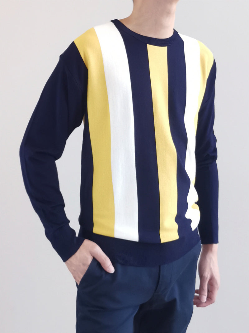 Men Striped Sweater- Yellow