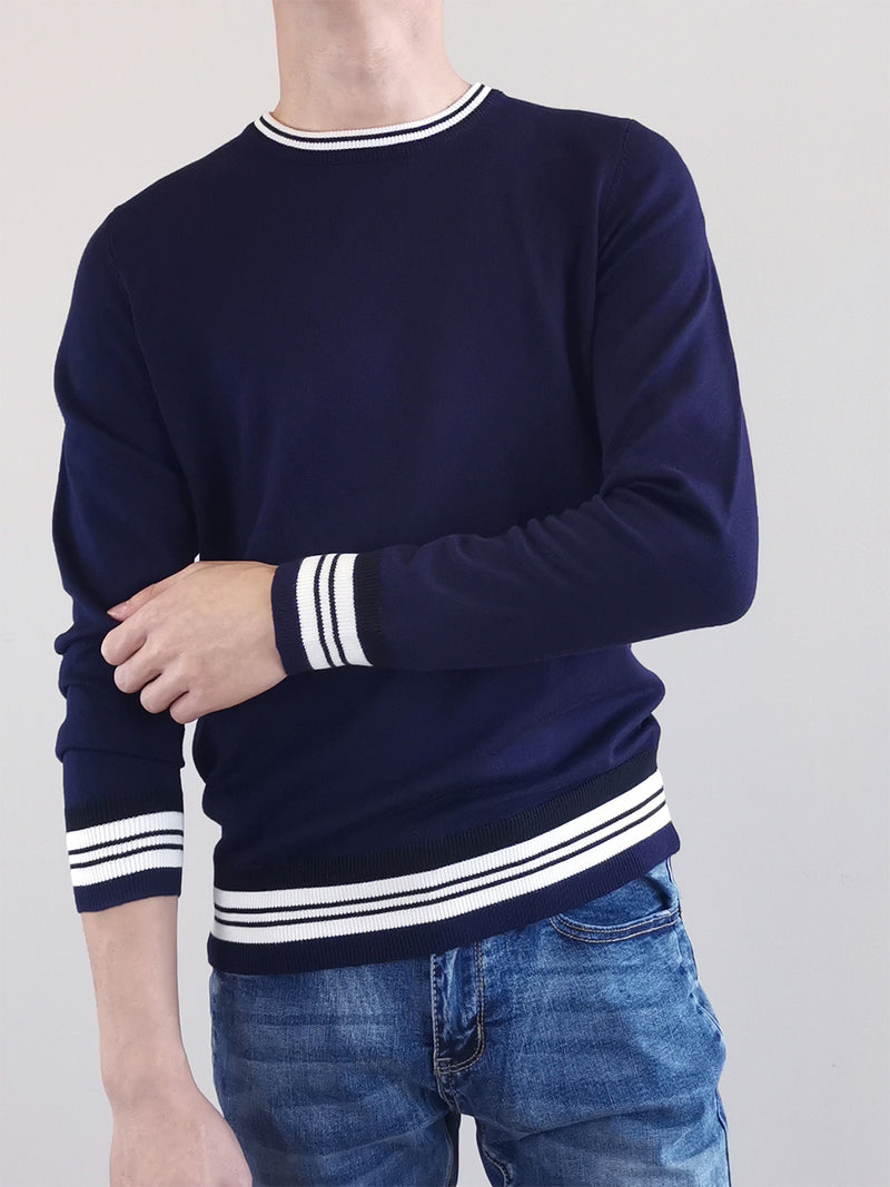 Men Sweater With Contrast Trims- Navy