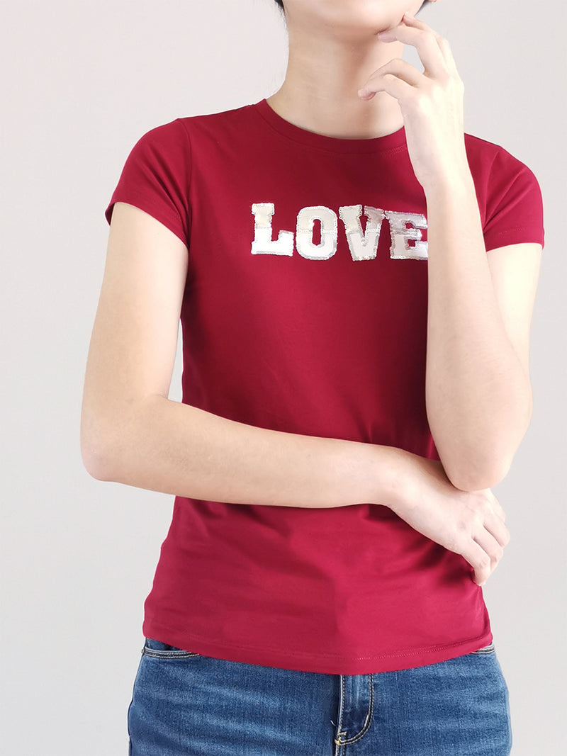 Women Graphic Tee- Red - M0W488