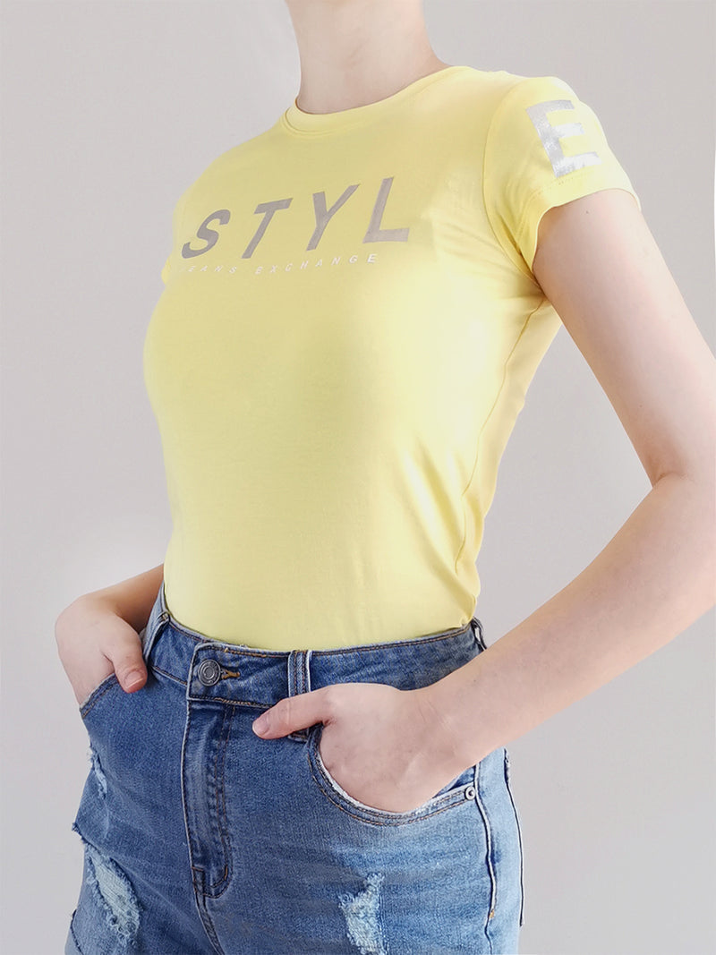 Women Graphic Tee- Yellow