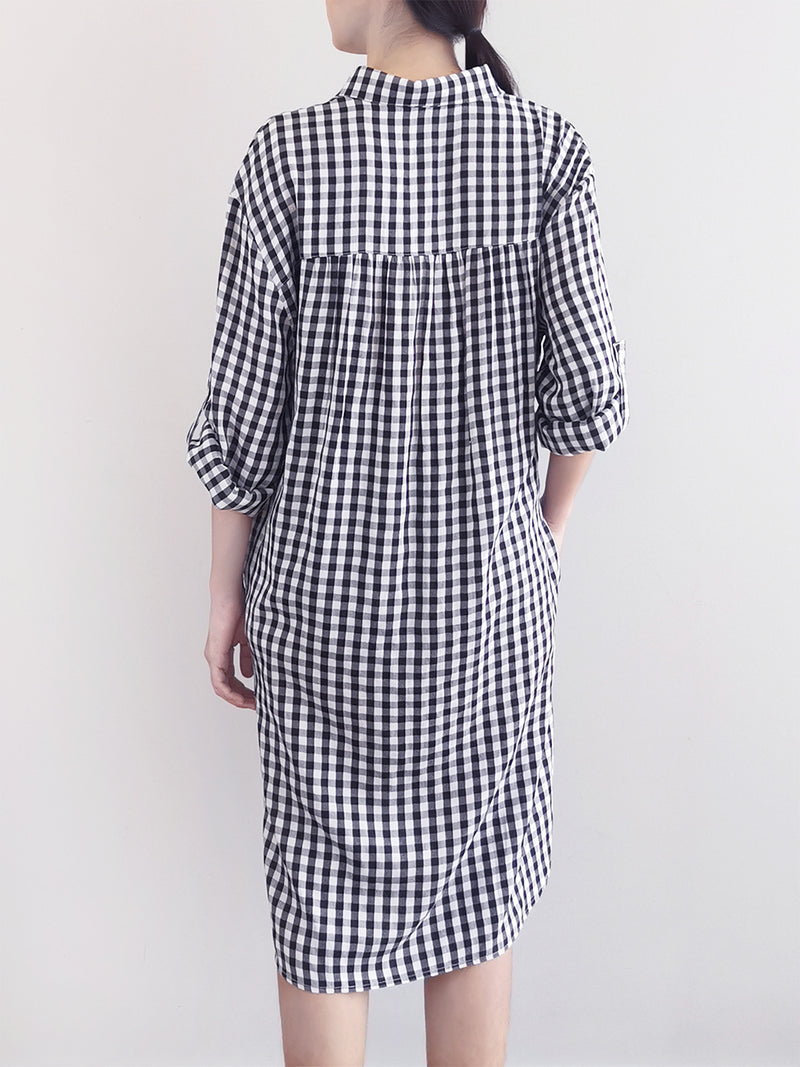 Women Checked Shirtdress- Black