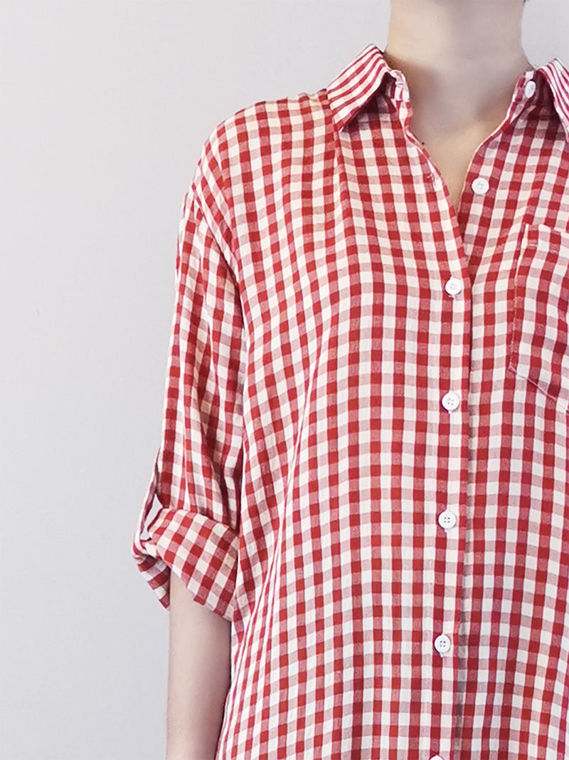 Women Checked Shirtdress- Red