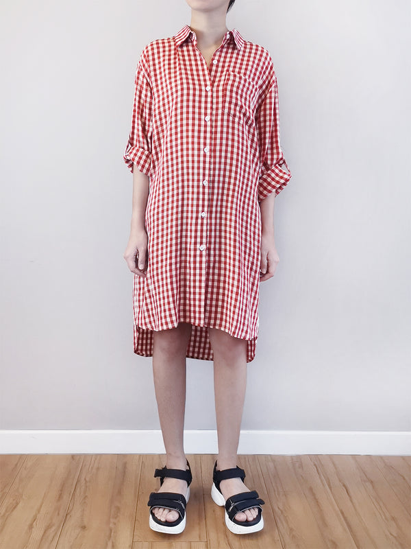 Women Checked Shirtdress- Red - M0W464