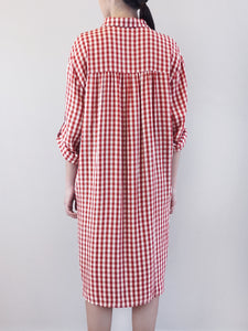 Checked Shirtdress- Red