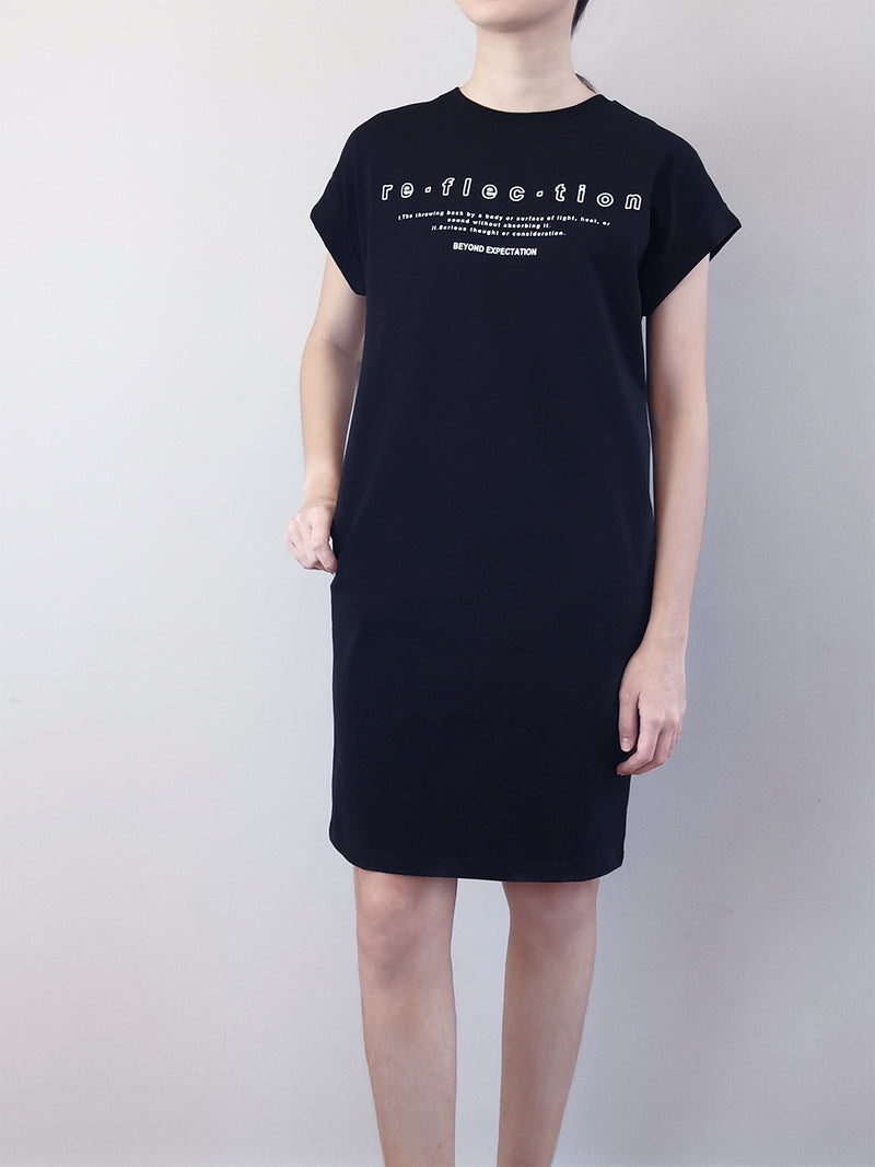 Women Dress With Front Slogan - Black