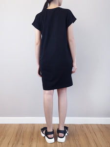 Dress With Front Slogan - Black
